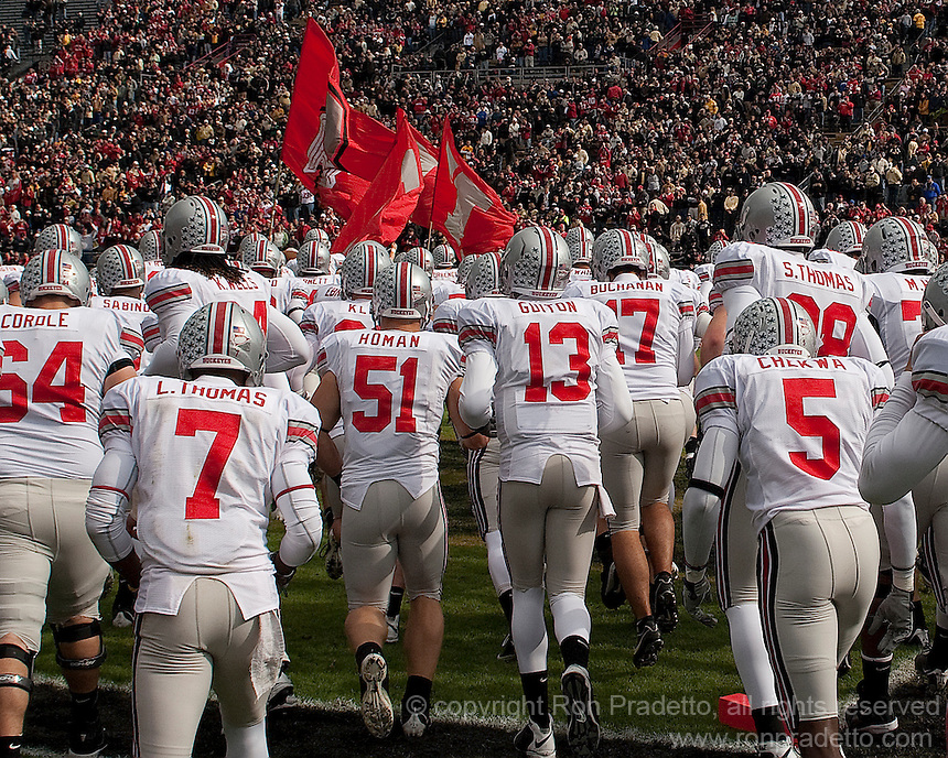 The Ohio State Buckeyes football team takes the field. The Purdue Boilermakers defeated the Ohio State Buckeyes 26-18 at Ross-Ade Stadium, West Lafayette, Indiana on October 17, 2009..