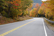 The Kancamagus Highway (route 112) during the autumn months, which is one of New England's scenic byways. Located in the White Mountains, New Hampshire USA