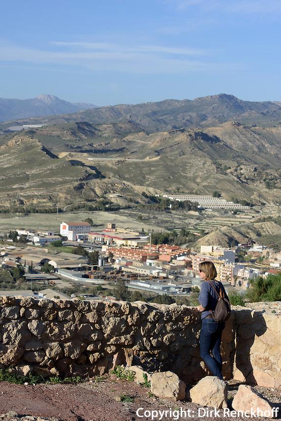 Blick vom Castillo de Lorca auf die Stadt,  Provinz Murcia, Spanien, Europa