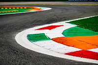 9th September 2021; Nationale di Monza, Monza, Italy; FIA Formula 1 Grand Prix of Italy, Driver arrival and inspection day:  Monza kerb in Italian colours