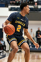 WASHINGTON, DC - FEBRUARY 22: Scott Spencer #2 of La Salle controls the ball during a game between La Salle and George Washington at Charles E Smith Center on February 22, 2020 in Washington, DC.
