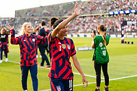 EAST HARTFORD, CT - JULY 5: Christen Press #11 of the United States salutes the fans after a game between Mexico and USWNT at Rentschler Field on July 5, 2021 in East Hartford, Connecticut.