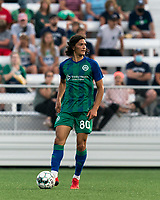 HARTFORD, CT - AUGUST 17: Justin Haak #80 of Hartford Athletic looks to pass during a game between Charleston Battery and Hartford Athletic at Dillon Stadium on August 17, 2021 in Hartford, Connecticut.