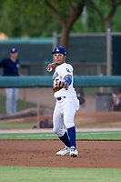 AZL Dodgers third baseman Jefrey Souffront (5) makes a throw to first base against the AZL Brewers on July 25, 2017 at Camelback Ranch in Glendale, Arizona. AZL Dodgers defeated the AZL Brewers 8-3. (Zachary Lucy/Four Seam Images)