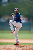 Atlanta Braves pitcher Alex Aquino (43) during a Minor League Extended Spring Training game against the Philadelphia Phillies on April 20, 2018 at Carpenter Complex in Clearwater, Florida.  (Mike Janes/Four Seam Images)