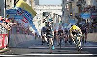 Elia Viviani (ITA/Sky) wins stage 2 of the 2015 Giro ahead of Moreno Hofland (NLD/LottoNL-Jumbo) & André Greipel (DEU/Lotto-Soudal)<br /> <br /> stage 2: Albenga - Genova (177km)