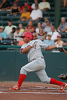 Clearwater Threshers catcher Willians Astudillo (4) in action during a game against the Daytona Tortugas at Radiology Associates Field at Jackie Robinson Ballpark on May 9, 2015 in Daytona, Florida. Clearwater defeated Daytona 7-0. (Robert Gurganus/Four Seam Images)