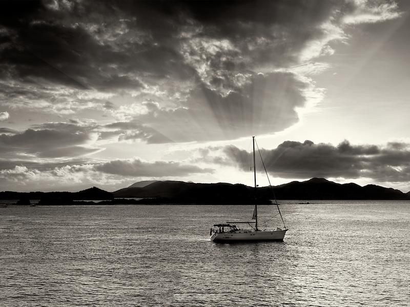 Boat off St. John, Virgin Islands and sunset.