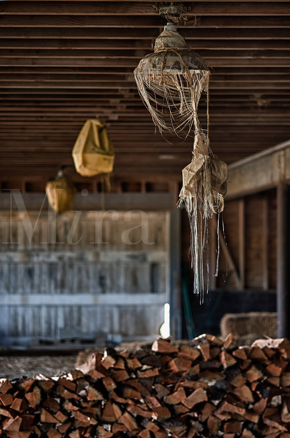 Lights out in a neglected rural barn.