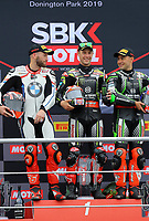 Race 1 Podium during the 2019 World Superbike Championship Prosecco DOC UK Round 8 at Donington Park GP Race Circuit, Donington Park, England on 5th to 7th July 2019. Photo by Ian Hopgood.