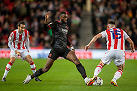 1st October 2021;  Bet365 Stadium, Stoke, Staffordshire, England; EFL Championship football, Stoke City versus West Bromwich Albion; Semi Ajayi of West Bromwich Albion is tackled by Jordan Thompson of Stoke City