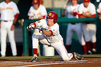 Conner Sullivan #16 of the USC Trojans attempts to bunt during a baseball game against the Oregon Ducks at Dedeaux Field on March 15, 2013 in Los Angeles, California. (Larry Goren/Four Seam Images)