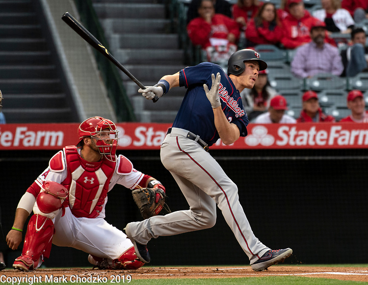Minnesota Tins, Max Kepler lines a hit to center field against the Los Angeles Angles.