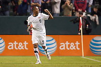 USA's Teal Bunbury (9) scores a PK and begins to celebrate. US Men's National team played the National team of Chile to 1-1 draw at Home Depot Center stadium in Carson, California on Saturday January 22, 2010.