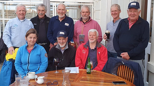 Competing in the first DBSC Dublin Bay Twenty Footer Race of 2021 at the National Yacht Club in Dun Laoghaire Harbour were from  (L to R) front row: Winifred McCourt. Fionán de Barra. Dean McElree. (Back row) Article author Ronan Beirne, Alastair Rumball, Hal Sisk, Tim Pearson, Jim Foley and Michael Rothschild