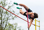 "OXFORD, CT 050421JS18—Oxford's Sam Wolf attempts to clear 12' 6"" during their NVL track meet with Tuesday at Oxford High School. Wolf finished in first place with a vault of 12'. <br /> Jim Shannon Republican American"