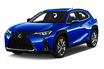 2019 Lexus UX 250h-F-SPORT 5 Door SUV angular front stock photos of front three quarter view