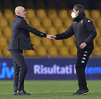 Stefano Pioli coach of AC Milan and Filippo Inzaghi coach of Benevento Calcio greet each other  during the Serie A football match between Benevento Calcio and AC Milan at stadio Ciro Vigorito in Benevento (Italy), January 03rd, 2021. <br /> Photo Cesare Purini / Insidefoto