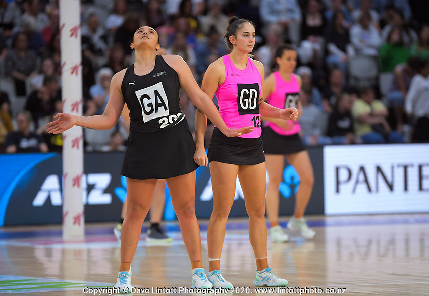 NZ Under-21s Tiana Metuarau and NZ A's Kate Burley during the Cadbury Netball Series match between NZ A and NZ Under-21 at the Fly Palmy Arena in Palmerston North, New Zealand on Saturday, 24 October 2020. Photo: Dave Lintott / lintottphoto.co.nz
