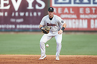 Birmingham Barons first baseman Gavin Sheets (24) on defense against the Pensacola Blue Wahoos at Regions Field on July 7, 2019 in Birmingham, Alabama. The Barons defeated the Blue Wahoos 6-5 in 10 innings. (Brian Westerholt/Four Seam Images)