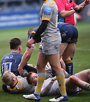 14th February 2021; Sixways Stadium, Worcester, Worcestershire, England; Premiership Rugby, Worcester Warriors versus Wasps; Nick David of Worcester Warriors scores a try