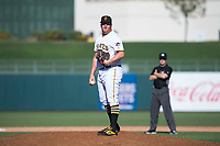 Surprise Saguaros relief pitcher Matt Eckelman (34), of the Pittsburgh Pirates organization, looks in for the sign during an Arizona Fall League game against the Salt River Rafters on October 9, 2018 at Surprise Stadium in Surprise, Arizona. Salt River defeated Surprise 10-8. (Zachary Lucy/Four Seam Images)