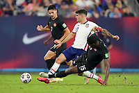 NASHVILLE, TN - SEPTEMBER 5: Christian Pulisic #10 of the United States races to the ball during a game between Canada and USMNT at Nissan Stadium on September 5, 2021 in Nashville, Tennessee.