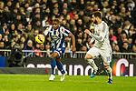 Real Madrid´s Nacho Fernandez and Deportivo de la Coruna's Ivan Cavaleiro during 2014-15 La Liga match between Real Madrid and Deportivo de la Coruna at Santiago Bernabeu stadium in Madrid, Spain. February 14, 2015. (ALTERPHOTOS/Luis Fernandez)