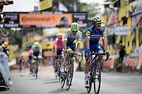 Julian Alaphilippe (FRA/Deceuninck - Quick-Step) crossing the finish line in Brussels<br /> <br /> Stage 1: Brussels to Brussels(BEL/192km) 106th Tour de France 2019 (2.UWT)<br /> <br /> ©kramon
