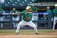 Daniel Jung (31) of the Notre Dame Fighting Irish squares to bunt against the Florida State Seminoles in Game Four of the 2017 ACC Baseball Championship at Louisville Slugger Field on May 24, 2017 in Louisville, Kentucky. The Seminoles walked-off the Fighting Irish 5-3 in 12 innings. (Brian Westerholt/Four Seam Images)
