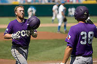 TCU catcher Bryan Holaday in Game 13 of the NCAA Division One Men's College World Series on June 26th, 2010 at Johnny Rosenblatt Stadium in Omaha, Nebraska.  (Photo by Andrew Woolley / Four Seam Images)