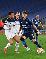 Uefa Europa League Group E Lazio vs Olympique de Marseille Olympic stadium Rome<br /> Olympique de Marseille's Pol Lirola (R) in action with Lazio's Felipe Anderson (L) during the UEFA Europa League Group E Football match between Lazio and Olympique de Marseille at the Olympic stadium in Rome on October 21, 2021. <br /> UPDATE IMAGES PRESS/Isabella Bonotto