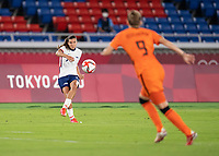 YOKOHAMA, JAPAN - JULY 30: Tobin Heath #7 of the USWNT crosses the ball into the box during a game between Netherlands and USWNT at International Stadium Yokohama on July 30, 2021 in Yokohama, Japan.