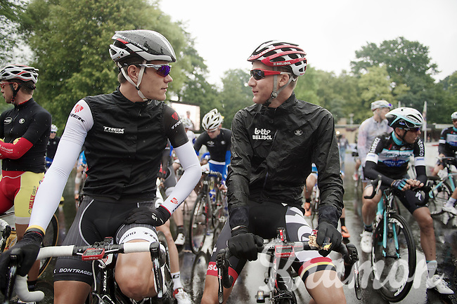 buddies Jasper Stuyven (BEL/Trek Factory Racing) & Tim Wellens (BEL/Lotto-Belisol) at the start. In Italy they share a training house, but during the season they each race their own program and don't see each other that much.<br /> <br /> Belgian Championships 2014 - Wielsbeke<br /> Elite Men