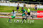 Kerry's Cianan Cooney tussles with Stephen Barrett of  Cabinteely in the U17 League of Ireland game on Saturday