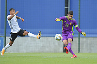 Belgian Nick Shinton (12) and German Emilio Kehrer (9) pictured during a friendly soccer game between the national teams Under19 Youth teams of Belgium and Germany on tuesday 8 th of September 2020  in Genk , Belgium . PHOTO SPORTPIX.BE | SPP | DIRK VUYLSTEKE