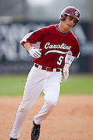 Whit Merrifield (5) of the South Carolina Gamecocks rounds the bases following his first collegiate home run versus the East Carolina Pirates at Sarge Frye Field in Columbia, SC, Sunday, February 24, 2008.