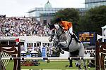 August 07, 2009: Vincent Voorn (HOL) aboard Audi's Alpapillon-Armanie clear the 4th fence. Meydan FEI Nations Cup. Failte Ireland Horse Show. The RDS, Dublin, Ireland.