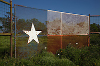 State of Texas Flag Design on Metal Fence