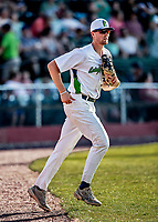 20 June 2021: Vermont Lake Monsters infielder M.J. Metz, from San Diego, CA, leaves the dugout to his position in right field during a game against the Westfield Starfires at Centennial Field in Burlington, Vermont. Rahill went 1 for 2 with a walk and a two-run homer in the 8th inning, accounting for all the home team scoring, as the Lake Monsters fell to the Starfires 10-2 at Centennial Field, in Burlington, Vermont. Mandatory Credit: Ed Wolfstein Photo *** RAW (NEF) Image File Available ***