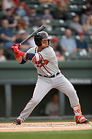 Left fielder Jefry Ramos (22) of the Rome Braves bats in a game against the Greenville Drive on Saturday, April 14, 2018, at Fluor Field at the West End in Greenville, South Carolina. Rome won, 4-0. (Tom Priddy/Four Seam Images)