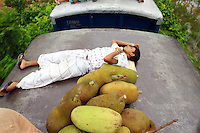 A man sleeps next to a pile of jackfruit. In Bangladesh many people ride on the roofs of trains as frequently that is the only space available. For others, the fares are too high and can be avoided or reduced by travelling on the roof. However, the riding on roofs and other parts of train exteriors leads to regular accidents, many of them fatal..