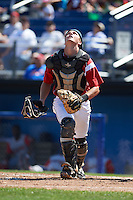 Batavia Muckdogs catcher Blake Anderson (26) looks for a pop up foul ball during a game against the Williamsport Crosscutters on July 16, 2015 at Dwyer Stadium in Batavia, New York.  Batavia defeated Williamsport 4-2.  (Mike Janes/Four Seam Images)