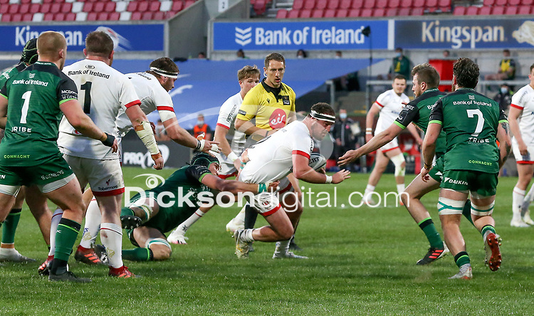 Friday 23rd April 2021; Rob Herring is tackled by Ultan Dillane during the first round of the Guinness PRO14 Rainbow Cup between Ulster Rugby and Connacht Rugby at Kingspan Stadium, Ravenhill Park, Belfast, Northern Ireland. Photo by John Dickson/Dicksondigital