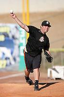 Kyle Nicholson of the San Jose Giants during game against the High Desert Mavericks at Mavericks Stadium in Adelanto,California on June 16, 2010. Photo by Larry Goren/Four Seam Images