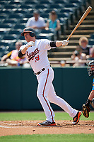 Baltimore Orioles Mark Trumbo (33), on rehab assignment with the Bowie Baysox, hits a double in the first inning during an Eastern League game against the Akron RubberDucks on May 30, 2019 at Prince George's Stadium in Bowie, Maryland.  Akron defeated Bowie 9-5.  (Mike Janes/Four Seam Images)