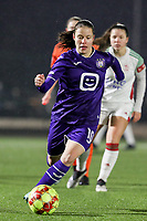 Stefania Vatafu (10) of Anderlecht with the ball during a female soccer game between Oud Heverlee Leuven and RSC Anderlecht on the 12 th matchday of the 2020 - 2021 season of Belgian Womens Super League , sunday 31 st of January 2021  in Heverlee , Belgium . PHOTO SPORTPIX.BE | SPP | SEVIL OKTEM