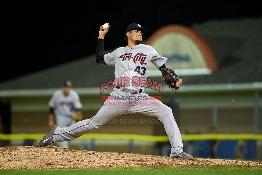 Tri-City ValleyCats relief pitcher Jesus Balaguer (43) delivers a pitch during a game against the Batavia Muckdogs on July 14, 2017 at Dwyer Stadium in Batavia, New York.  Batavia defeated Tri-City 8-4.  (Mike Janes/Four Seam Images)