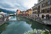 France, Annecy. Rhone-Alpes, Haute-Avoie. The Venice of Savoie, north of the French Alps. Canals in city center.