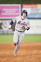 Ian Strom (20) of the Kingsport Mets hustles towards third base against the Danville Braves at American Legion Post 325 Field on July 9, 2016 in Danville, Virginia.  The Mets defeated the Braves 10-8.  (Brian Westerholt/Four Seam Images)